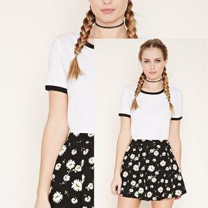 NWOT Forever21 Black Floral Skater Mini Skirt